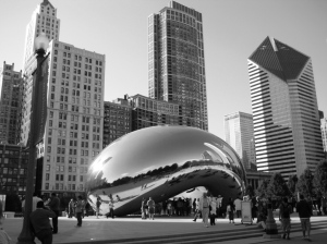 "Cloud Gate, aka ""the bean,"" by Anish Kapoor."